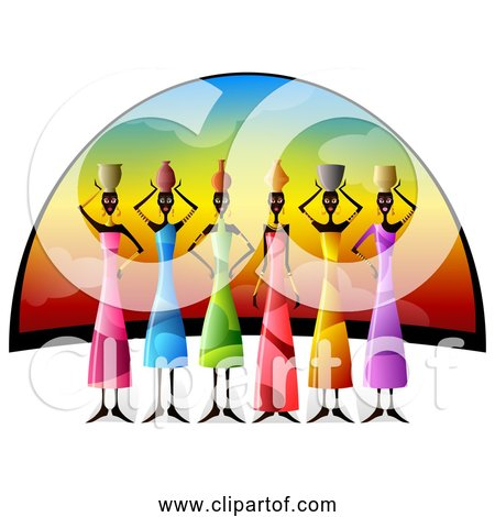 Free Clipart of African Women Balancing Vessels On Their Heads