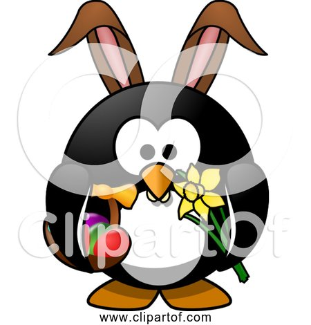 Free Clipart of Cartoon Easter Bunny Penguin