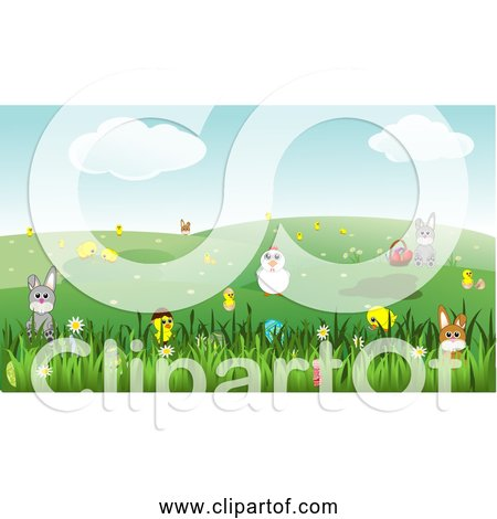 Free Clipart of Easter Landscape with Bunnies, Chicks, Eggs, Chicken, Flowers