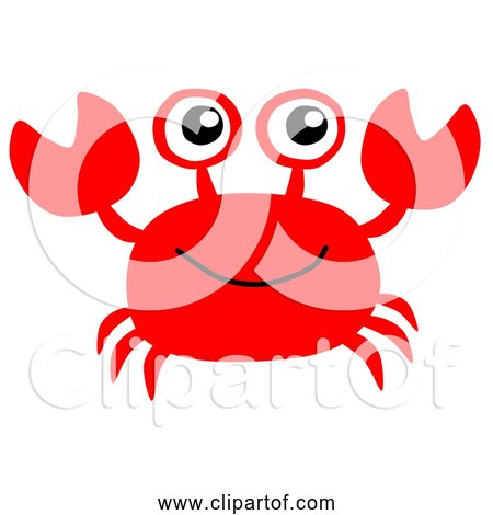 Free Clipart of Cartoon Red Crab