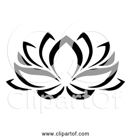Free Clipart of Bold Black Lotus Flower Outline