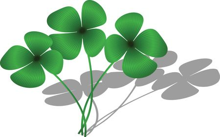 Free Clipart Of A Trio of Four Leaf Clovers and Shadows