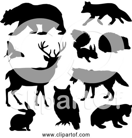 Free Clipart of Woodland Animals - Black Silhouette Version