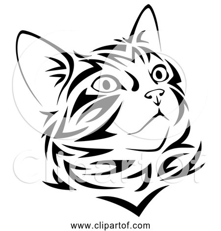 Free Clipart of Tribal Kitten in Black Line Art