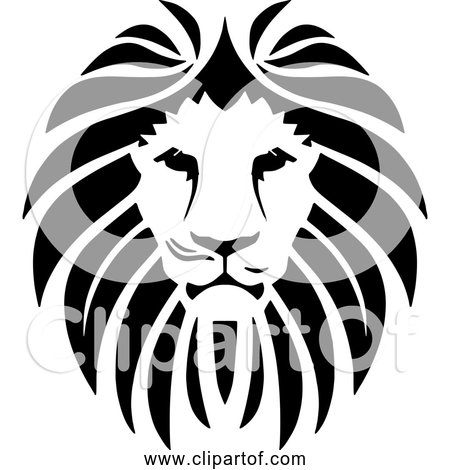 Free Clipart of Lion Tribal Lineart in Black