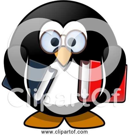 Free Clipart of a Cartoon Bookworm Penguin