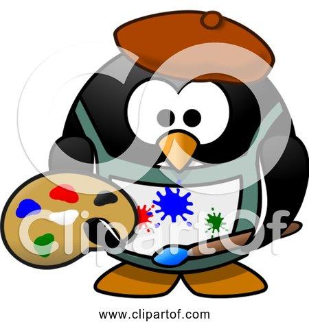 Free Clipart of a Cartoon Art Painter Penguin