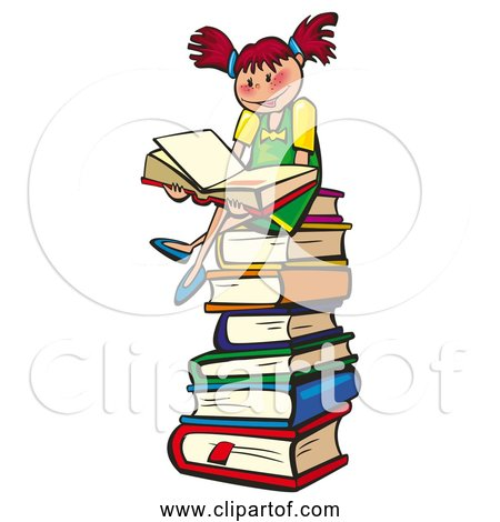 Free Clipart of a Young Girl Reading School Book While Sitting On a Stack of Books