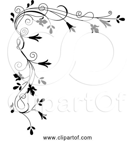 Free Clipart of Black Stylized Flowers Decorated as a Border