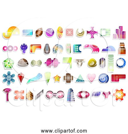 Free Clipart of 50 Abstract Icon Shapes With Patterns