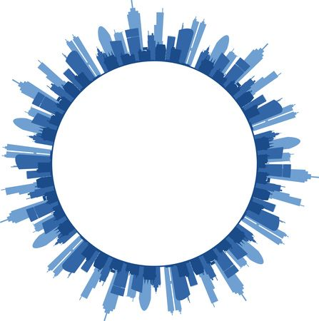 Truly Free Clipart Of A circular frame with text space and blue urban skyscraper city buildings Royalty Free Vector Illustration