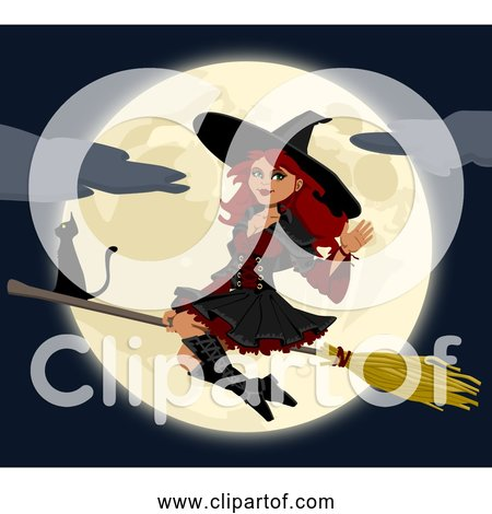 Free Clipart of a Young Happy Witch Flying In Front of Full Moon