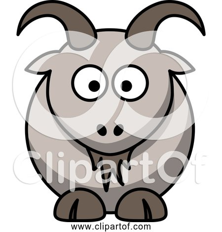 Free Clipart of a Cartoon Goat with Horns