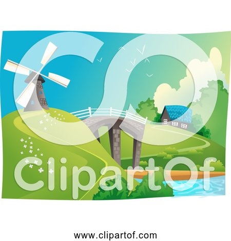 Free Clipart of a Windmill in Landscape with Bridge, Water, and Home
