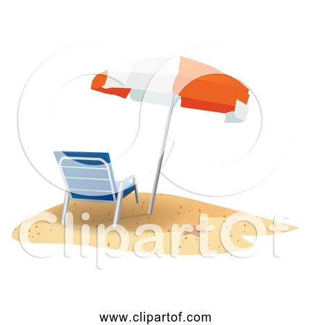 Free Clipart of Beach Scene with Chair and Umbrella