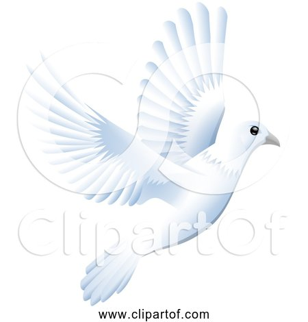 Free Clipart of PEACE with White Dove Flying
