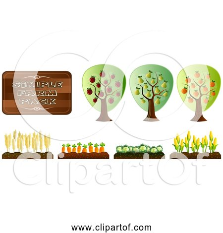 Free Clipart of a Simple Farm Crops Orchard Collection