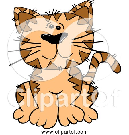 Free Clipart of Cartoon Orange Cat Sitting