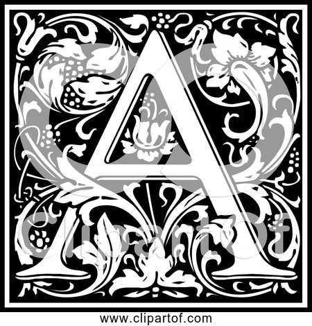 Free Clipart of Letter A - Ornate Black and White Alphabet Design
