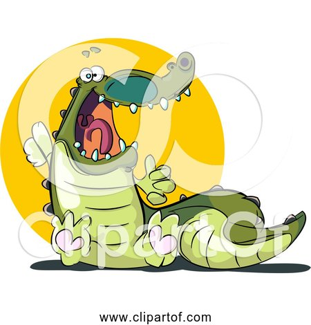 Free Clipart of Cartoon Crocodile - Startled and Scared
