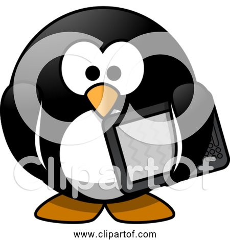 Free Clipart of Cartoon Modern Penguin with Computer Tablet