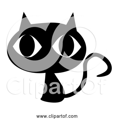 Free Clipart of Cartoon Black Cat with Big Head and Eyes