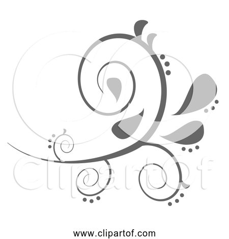Free Clipart of a Paisley Curves Flourish Design