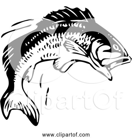 Free Clipart of a Jumping Fish - Black and White