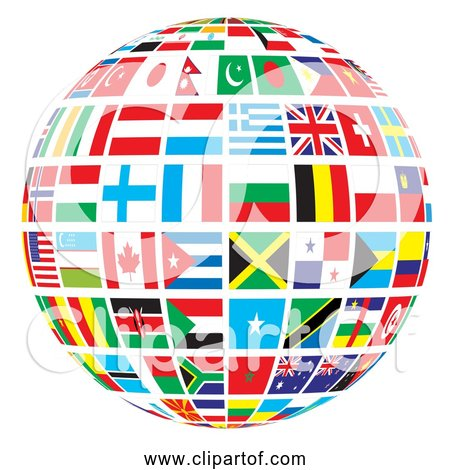 Free Clipart of World Flags Globe