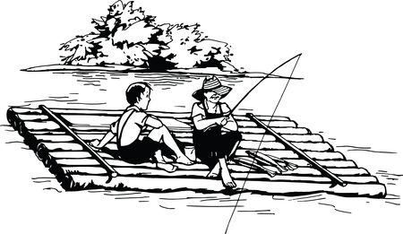 Truly Free Clipart Of black and white kids fishing on a log raft Royalty Free Vector Illustration
