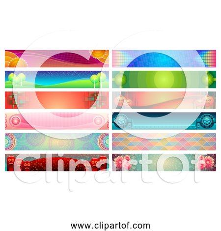 Free Clipart of 12 Colorful Banners - Collection