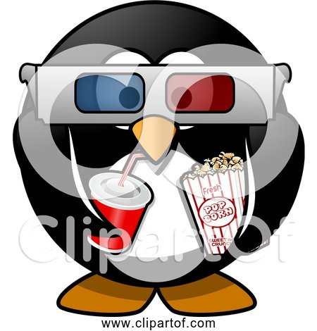 Free Clipart of Cartoon Cinema Penguin with Soda, Popcorn, 3d Glasses