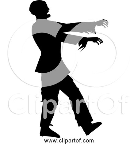 Free Clipart of Man Walking Like Zombie - Black Silhouette Version