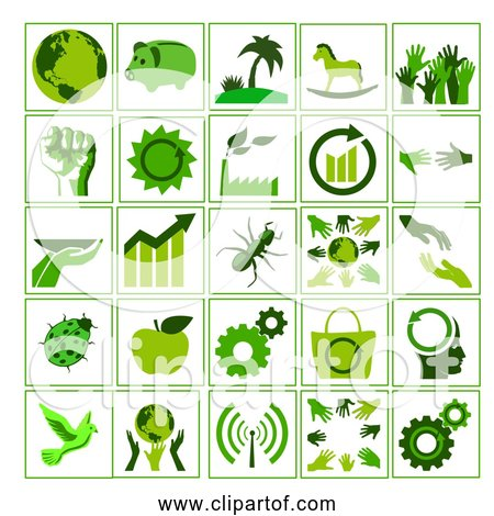 Free Clipart of Green Ecology Icons Set