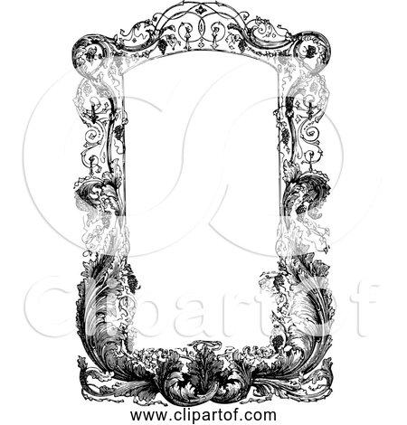 Free Clipart of Ornate Grape Vine Frame in Black and White