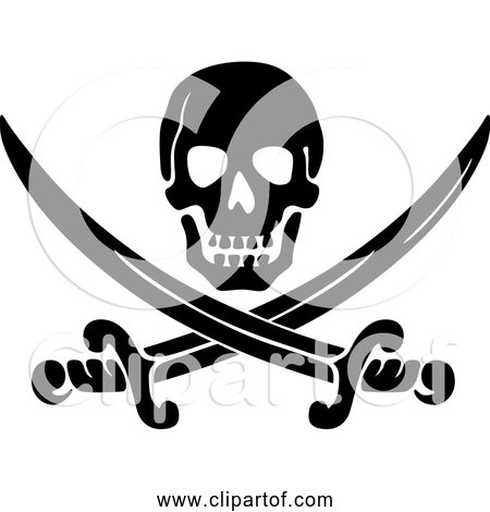 Free Clipart of Black Jack Pirate with Swords