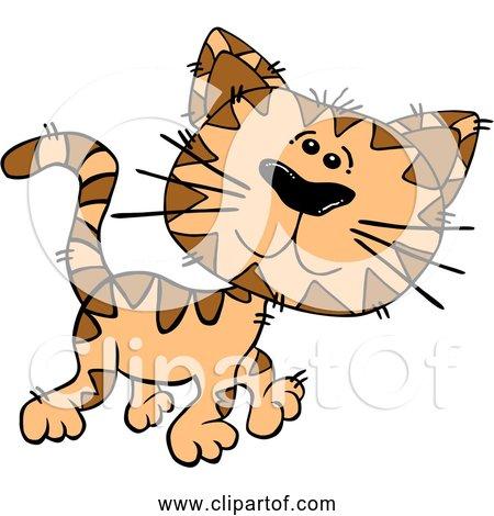 Free Clipart of Cartoon Orange Cat Walking