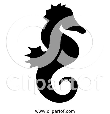 Free Clipart of Seahorse Black Silhouette