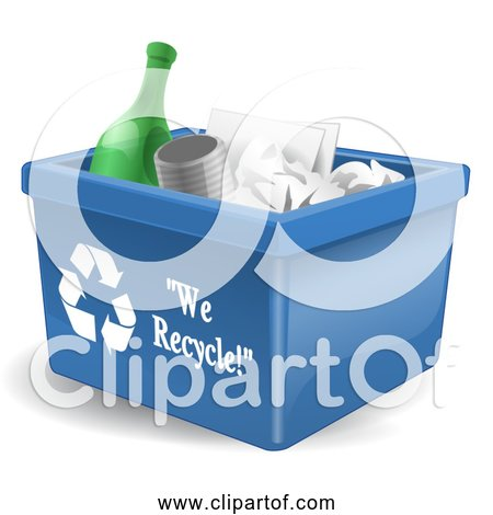 Free Clipart of a Recycling Bin with Items