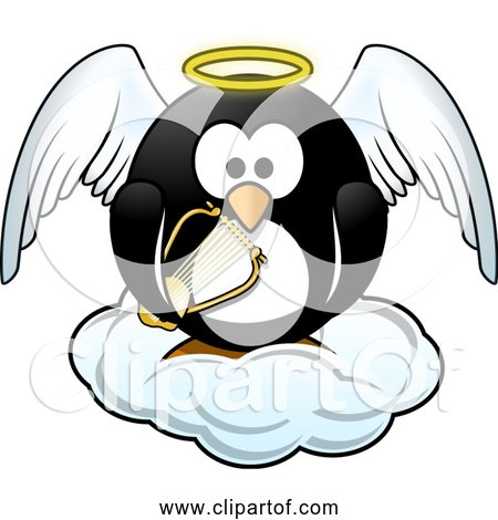 Free Clipart of Penguin in Heaven with Harp, Wings, Cloud, and Halo