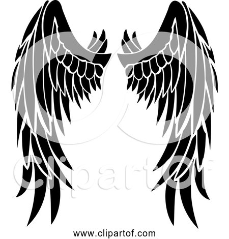 Free Clipart of Angel wings - Black Silhouette Version