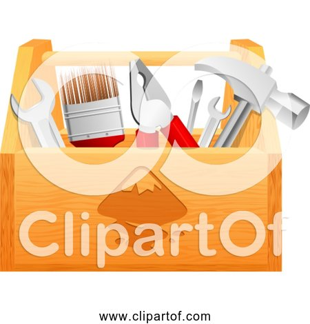 Free Clipart of Wood Toolbox with Hammer