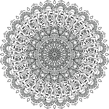 Free Clipart Of A black and white adult coloring page floral mandala