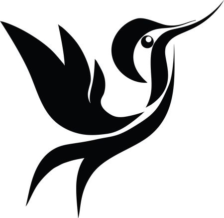 Free Clipart Of A black and white hummingbird in flight