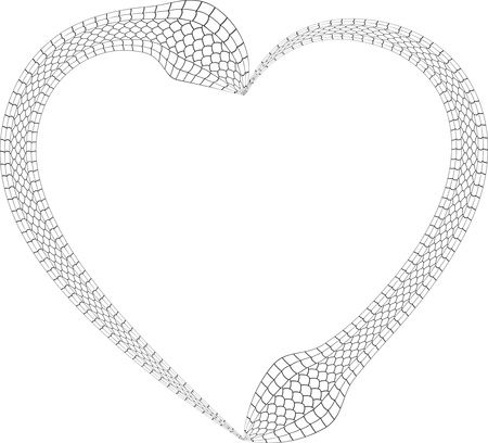 Free Clipart Of A black and white heart made of snakes