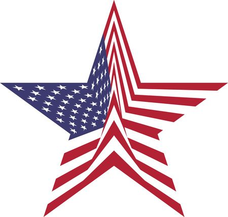Free Clipart Of A star with an american flag pattern