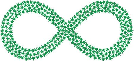 Free Clipart Of A green infinity outline made of marijuana leaves