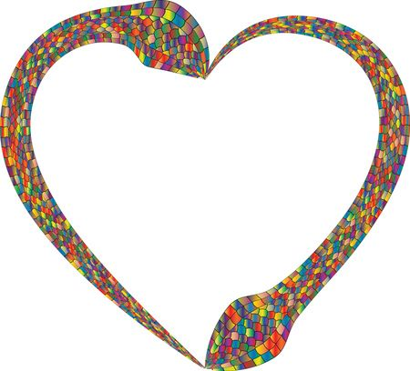 Free Clipart Of A colorful heart made of snakes