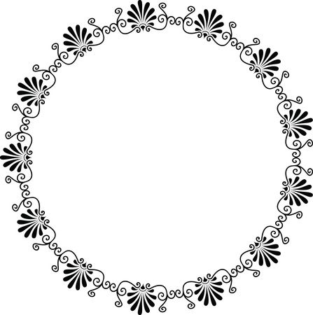 Free Clipart Of A fancy black and white greek vignette design frame