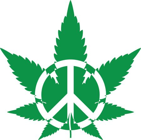 Free Clipart Of A green pot leaf with a peace symbol